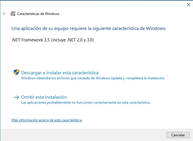 instalar net framework windows 10 a pedido del software